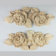 Carved Flower Carving Natural Wood Appliques for Furniture Cabinet Unpainted Mouldings Decal Decorative Accessories
