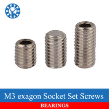 50Pcs DIN913 M3 304 Stainless Steel Metric Thread Grub Screws Flat Point Hexagon Socket Set Screws Headless