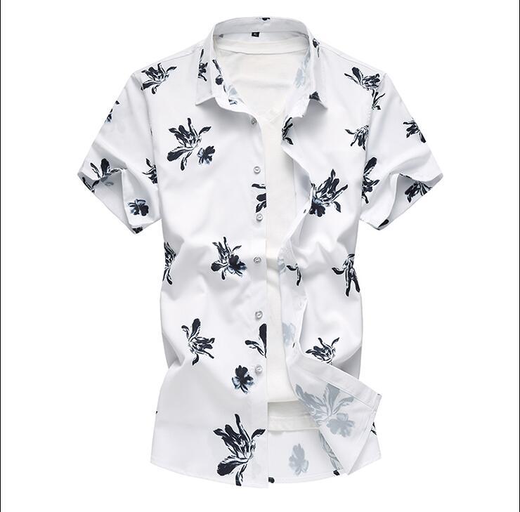 Летний модный бренд Для мужчин s рубашки Slim Fit Для мужчин с цветочным принтом Футболка с коротким рукавом Для мужчин Повседневное мужской гавайская рубашка плюс Размеры M-7XL