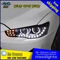 Estilo do carro lâmpada de cabeça para Mitsubishi Lancer Faróis Lancer 2009-2015 EX LEVOU Farol DRL Lente Bi Xenon Farol Alto Baixo estacionamento