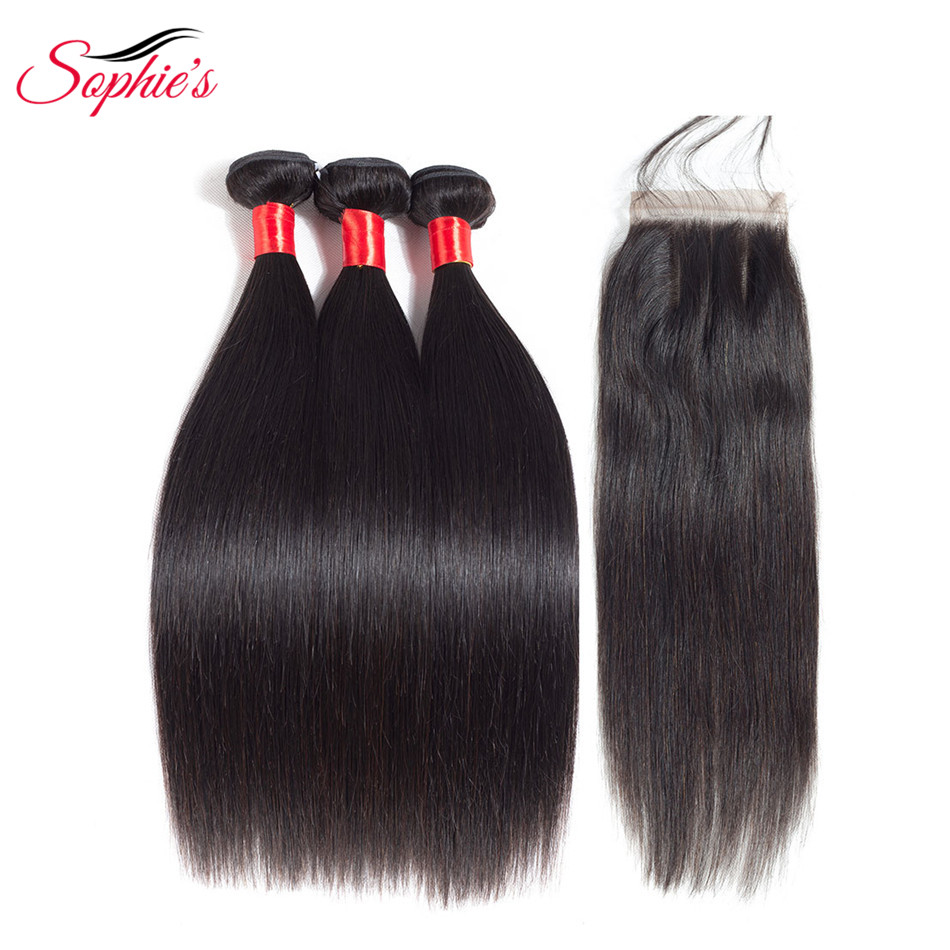 Human Hair Bundles With Closure 3 Bundles Brazilian Straight Hair Bundles With Closure Brazilian Hair Weave