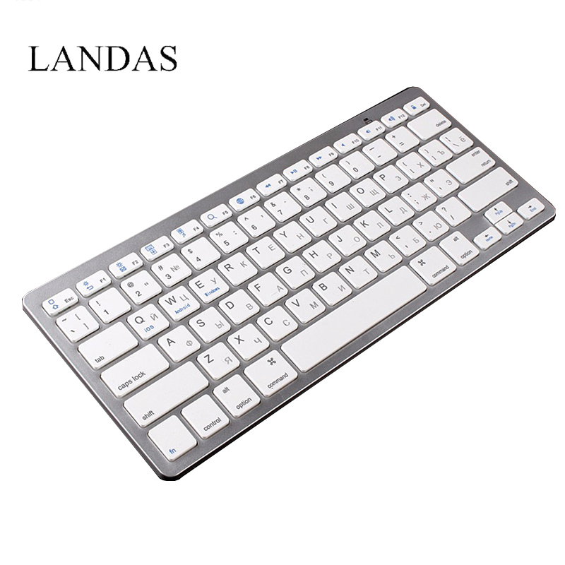 купить Landas Freach Spanish Russian Keyboard Bluetooth Wireless Keyboard for Desktop computer Russian USB Keyboards for Smartphone недорого