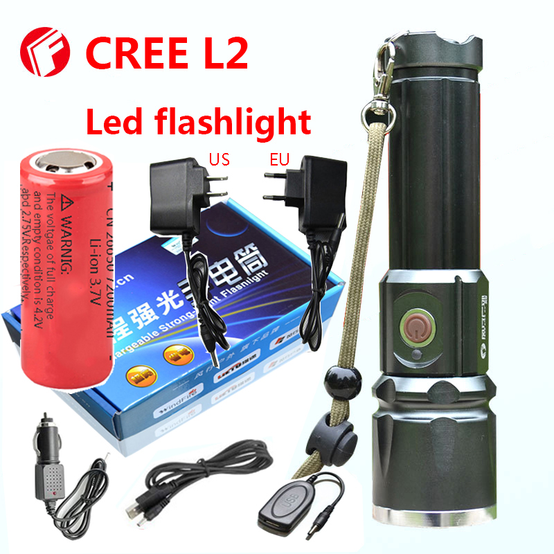 Flashlight Cree xm-l2 Tactical light 18650 or 26650 battery Outdoor Powerful LED Flashlight rechargeable flashlight led cree xm l2 light 3800 lumens 26650 battery outdoor camping telescopic zoom self defense powerful led flashlight