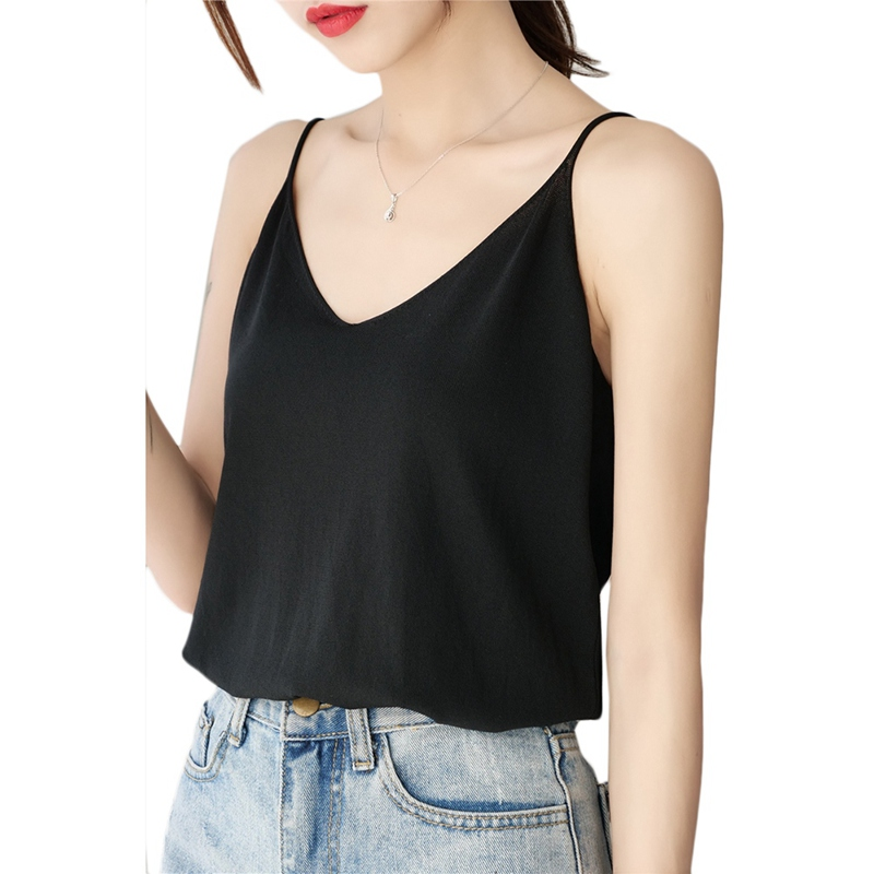 Z 2019 Tops Summer Casual Sleeveless Shirt Solid Color Loose Tunic Tops Sweet Basic Chiffon V-Neck Camisole Underwear Women