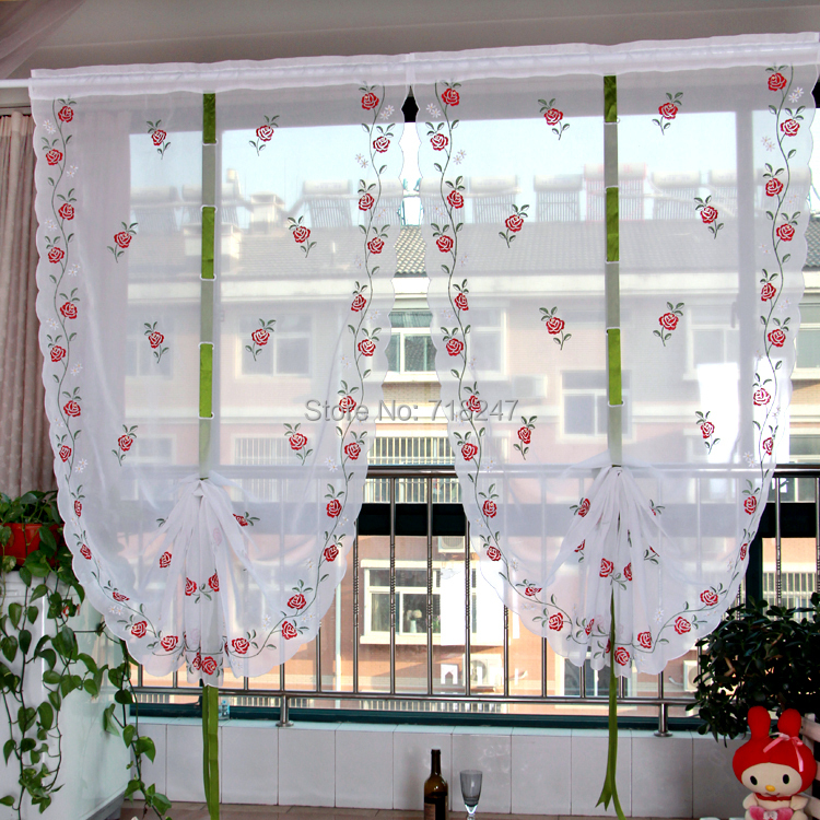 Vezon Elegant Embroidery Rose Voil Ballon Curtain Finished Floral Window Kitchen Draw String Curtains Pull Up For Living Room