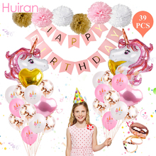 Huiran Unicorn Party Decor Birthday Supplies Boy Girl Baby Shower Unicornio