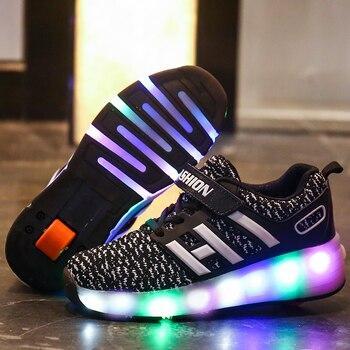 Zapatos de patinaje para niños, Zapatillas de patín con luz LED de una rueda, color rosa o azul, zapato informal para chica, Zapatillas con Ruedas