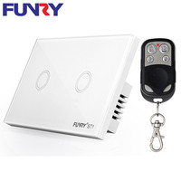 Funry US 2 Gang Light Smart Switch Crystal Glass Panel Wireless Touch Remote Control 110 220V