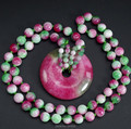 Beautiful Natural Round Chinese TaoHua Jade Safety Buckle Lucky Pendant + beads Necklace Fashion Fine Jade Jewelry