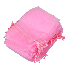 60 x Organza Bag Wedding Jewelry Yarn Bag 120 x 100 mm – Pink