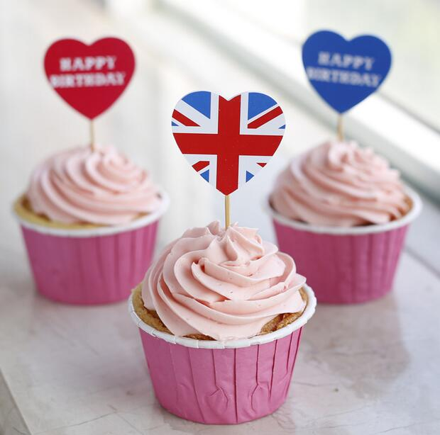 Free Shipping 96pcslot British Style Love Heart Toppers Picks And