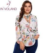 IN'VOLAND Plus Size M-3XL Mulheres Chiffon Blusa Blusas Tops Outono Primavera Com Decote Em V Manga Comprida Dot Laço Floral Camisa Pullover Feminino
