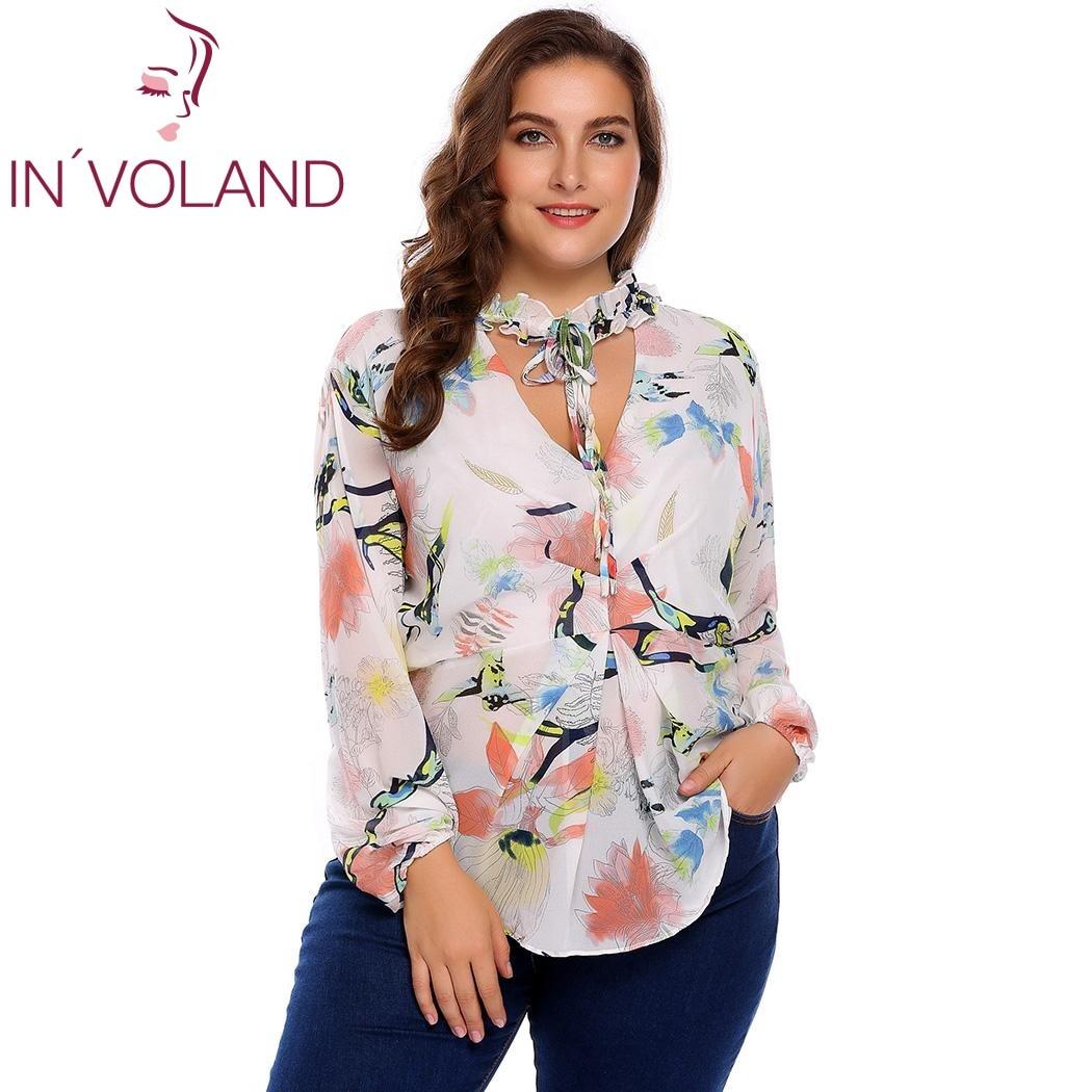 IN'VOLAND Plus Taille M-3XL Femmes En Mousseline de Soie Blouse Blusas Tops Automne Printemps Col V À Manches Longues Dot Floral Cravate Chemise Femelle Pull