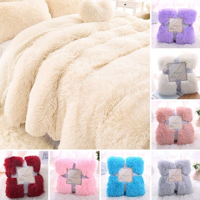 Faux Fur Fleece Blankets Adult Flannel Aircraft Sofa Super