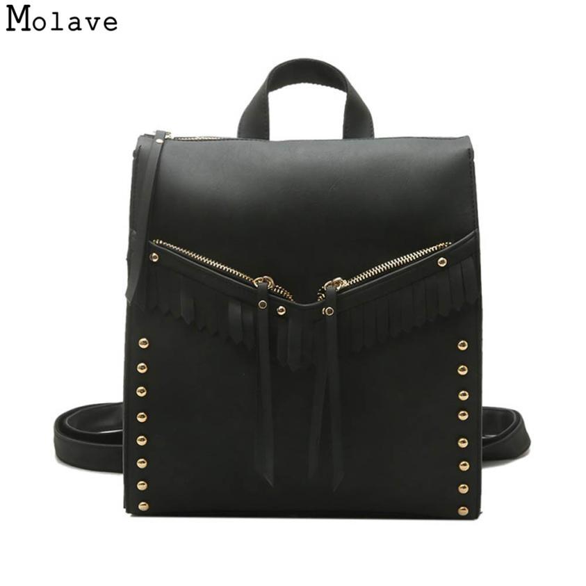 AA Naivety Women Backpack PU Leather Tassel Shoulder Bag Girls Rivet Travel Purse 28S7822 drop shipping