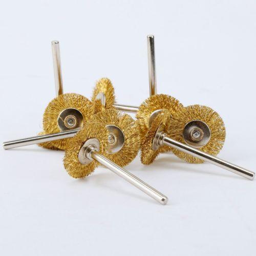 Fixmee 5 piezas de alambre de latón de cepillos herramienta de pulido para rectificadora rotativa Dremel 22 MM