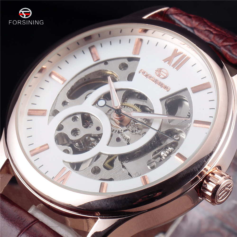 FORSINING Hollow Design Leather Skeleton Watch Man Male Sport Clock Business Automatic Mechanical Fashion Wrist Luxury Watches 2016 forsining roman skeleton hollow fashion mechanical hand wind men luxury male business leather strap wrist watch relogio