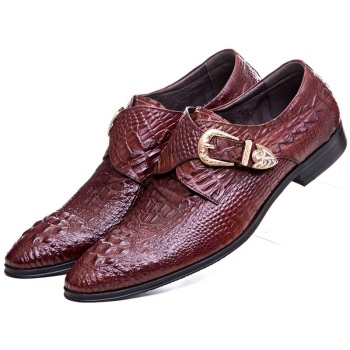 Crocodile Grain Wine red / Black dress shoes mens business shoes genuine leather formal wedding shoes with buckle