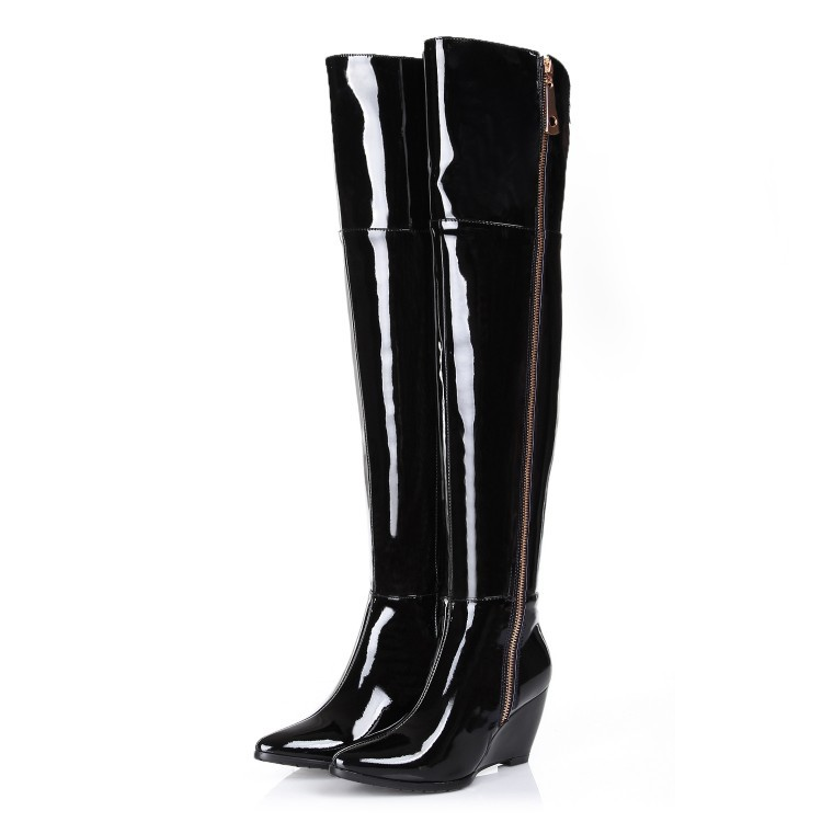 Free shipping 2017 new Genuine Leather pointed toe over the knee boots for women patent leather wedges long boots big size31-45 цены онлайн