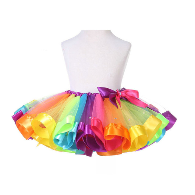 1pc Colorful Mini Skirts For Girls Stage Performance Dance Skirt Rainbow Color Ball Gown 2016 New Fashion Free Shipping