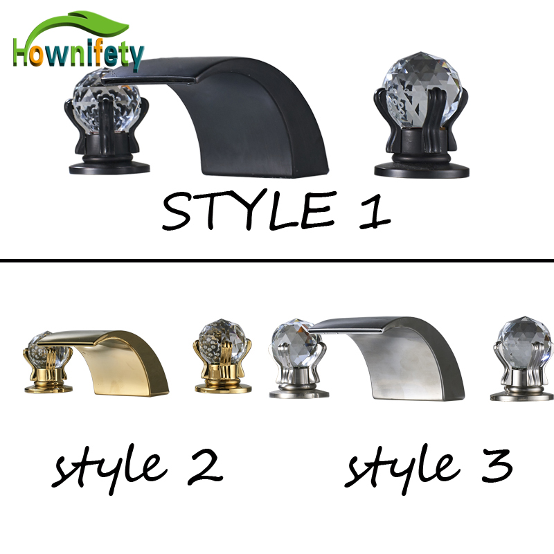 Deck Mounted Basin Faucet Waterfall Spout Dual Crystal Control Handle Bathroom Sink Tap Three Colors new arrive dual square handles waterfall spout bathroom sink basin faucet brushed nickel deck mount