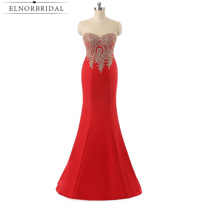 Red Mermaid Evening Dresses Long 2017 Vestido De Noche Formal Prom Dress Special Occasion Imported Party Gowns Free Shipping