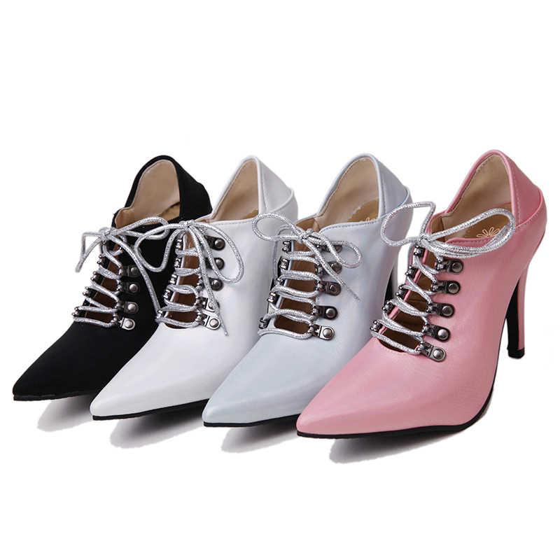 Wetkiss tamanho grande 45 nova mulher de salto alto bombas dedo do pé apontado festa sapatos femininos rendas até mulas sapatos metal decoração calçado