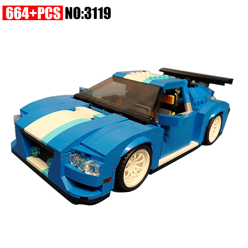 3 in 1 Turbo Track Racer 3119 City Building Blocks Sets Kits Bricks Classic Bricks Model Kids Toys Compatible 31070 hot wheels roundabout track toy kids electric toys square city miniature car model classic antique cars hotwheels