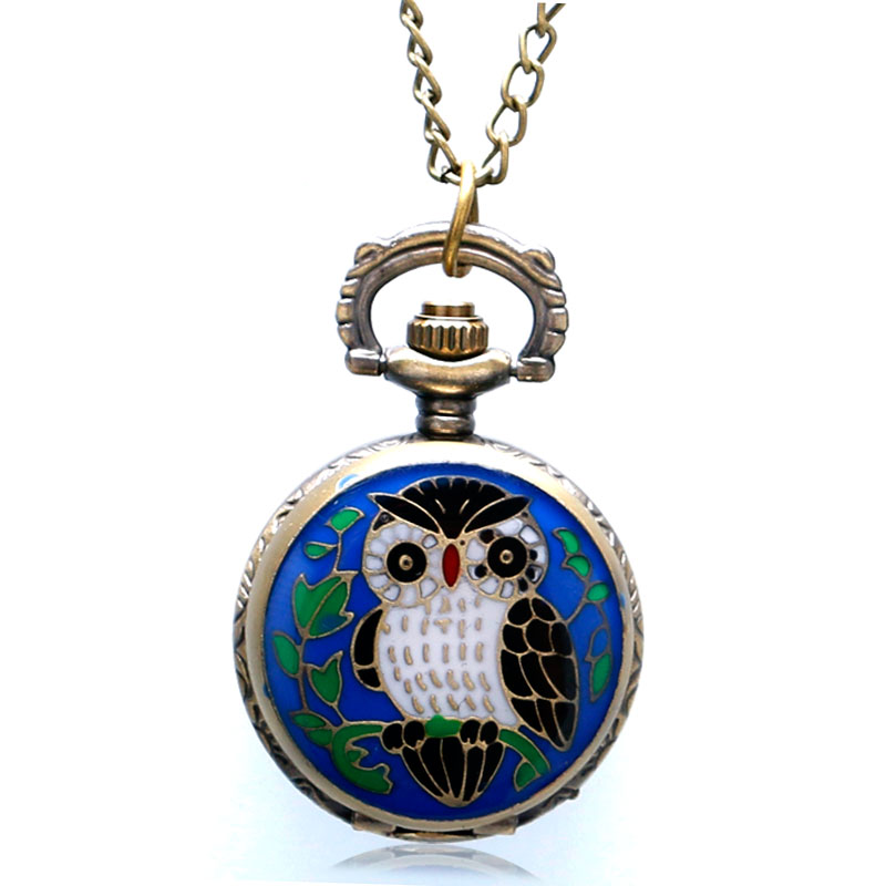2019 New Cute Lovely Blue Owl Enamel Pocket Watch Quartz Small Round Fob Watches Boy Girl Xmas Christmas Pendant Necklace Chain