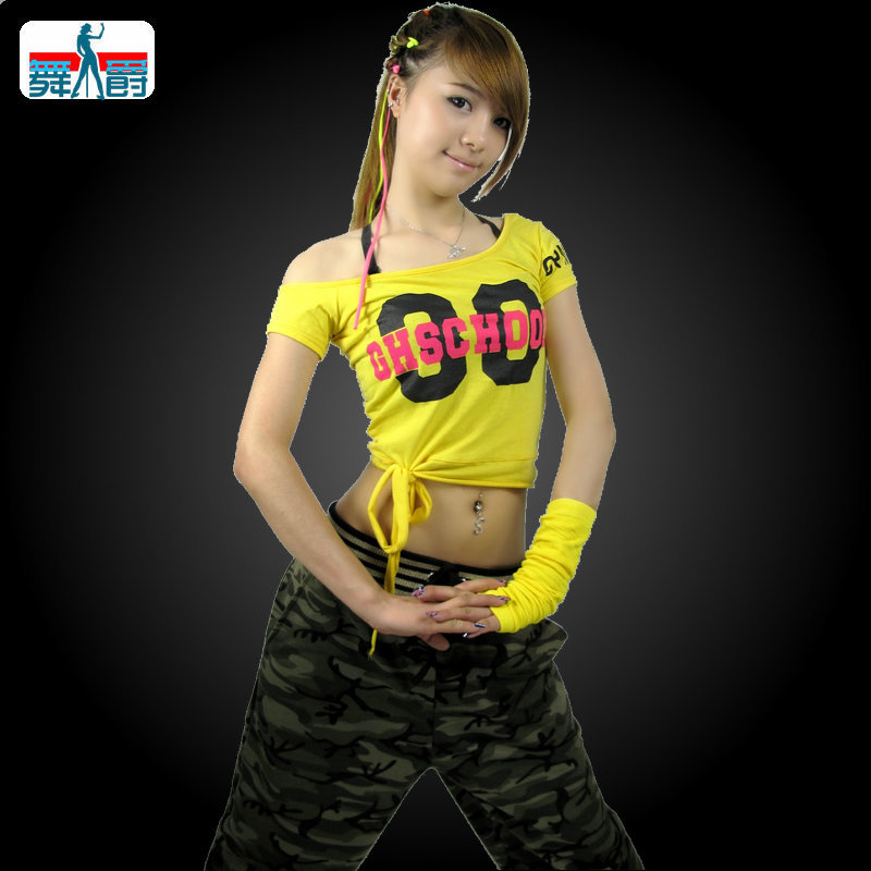Nueva Marca de Moda hip hop superior femenina de danza Jazz ds desgaste del  funcionamiento del traje ds Sexy Ultra corta camiseta en Baile Folclórico  Chino ... aaa874e364b