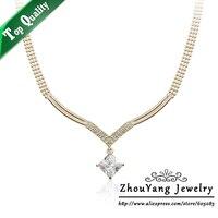 ZHOUYANG ZYN103 V Crystal Necklace Rose Gold Color Pendant Necklace Jewelry Austrian Crystal Wholesale