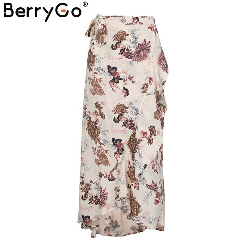 f8ceaade91 ... BerryGo Tie up boho print long skirt Asymmetrical ruffle wrap skirt  women Summer beach maxi skirt ...