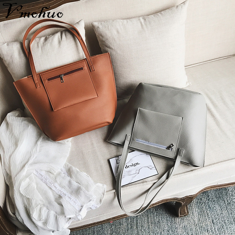 VMOHUO 4pcs/set Fashion Women PU Leather Handbag Lady Large Capacity Shoulder Bag Sets Messenger Bag Clutch Casual Tote Bags 4