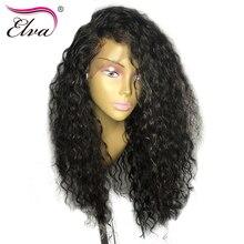ELVA ВОЛОС предварительно сорвал Синтетические волосы на кружеве Человеческие волосы Искусственные парики отбеленные узлы с ребенком волос бразильский Волосы Remy вьющиеся Искусственные парики для черный Для женщин