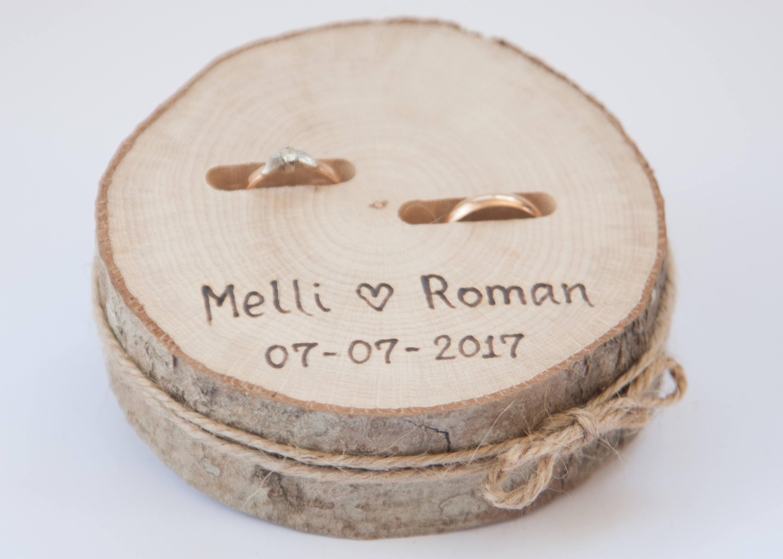 Ring Bearer Pillow Wedding Wood Slice