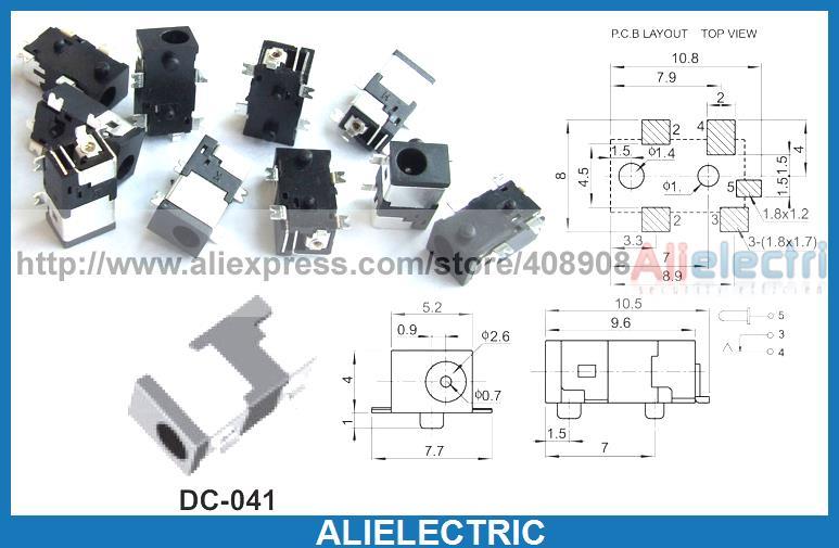 500 pièces DC 041 2.5mm x 0.7mm DC prise Jack SMD PCB chargeur prise de puissance à souder