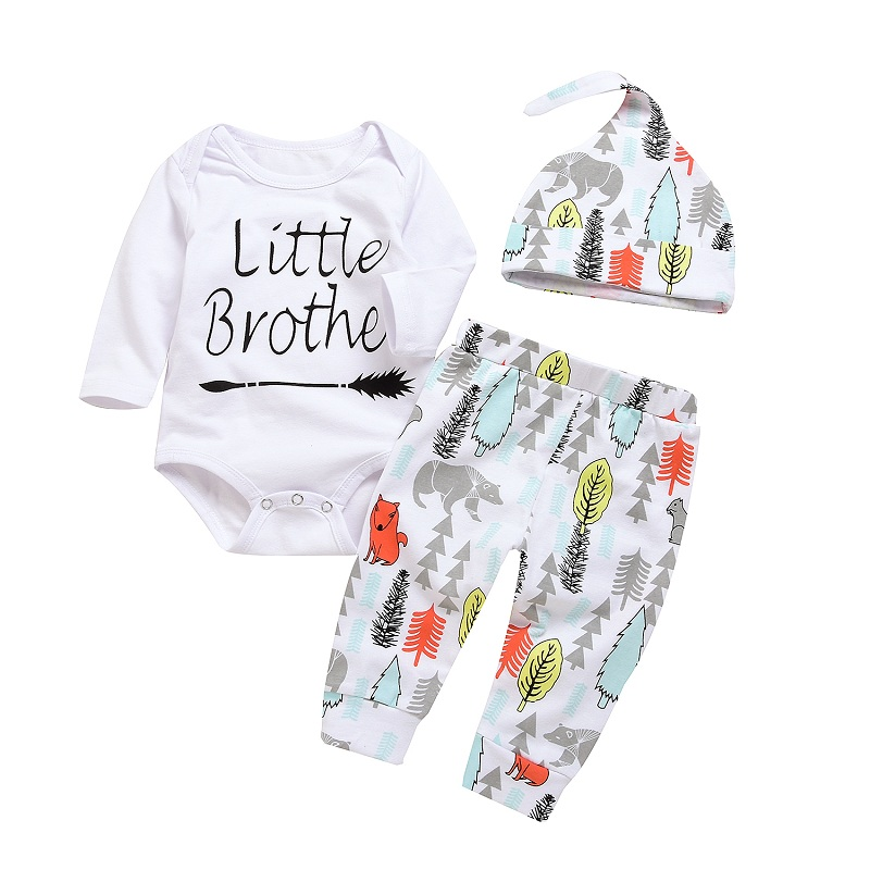 2018 Spring Autumn Baby Boys Clothes Little Brother Arrow Romper Long Cartoon Animal Pant with Hat Outfit Set for Infant Boys autumn 2pcs baby girl clothes set print little animal unicorn horse rainbow long sleeve t shirt tops trousers jeans pant outfit