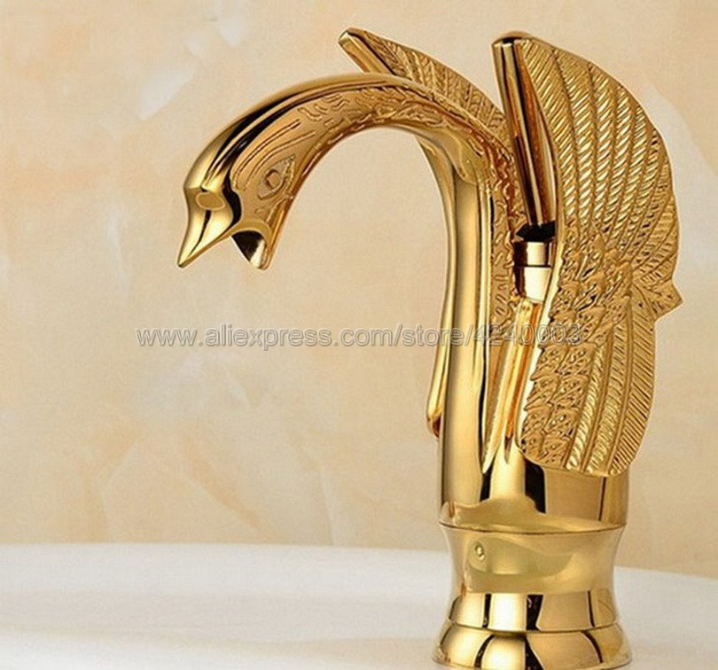 Basin Faucets New Design Swan Faucet Gold Plated Bathroom Vanity Vessel Sinks Mixer Bathroom Basin Sink Faucet Tap Kgf009 in Basin Faucets from Home Improvement