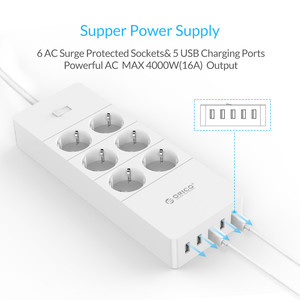 Image 2 - ORICO מפצל חשמל חכם נייד טעינה 4/6/8 חנויות עם 5 2.4 40W USB מטען יציאות גל הגנה עם 1.5m כבל חשמל