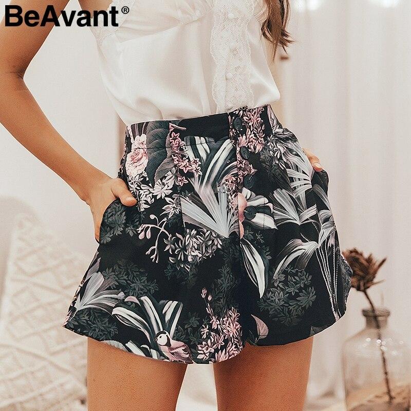BeAvant Bohemian Floral Printed Women Shorts Casual Button Elastic High Waist Shorts Summer Streetwear Shorts Ladies Bottom 2019