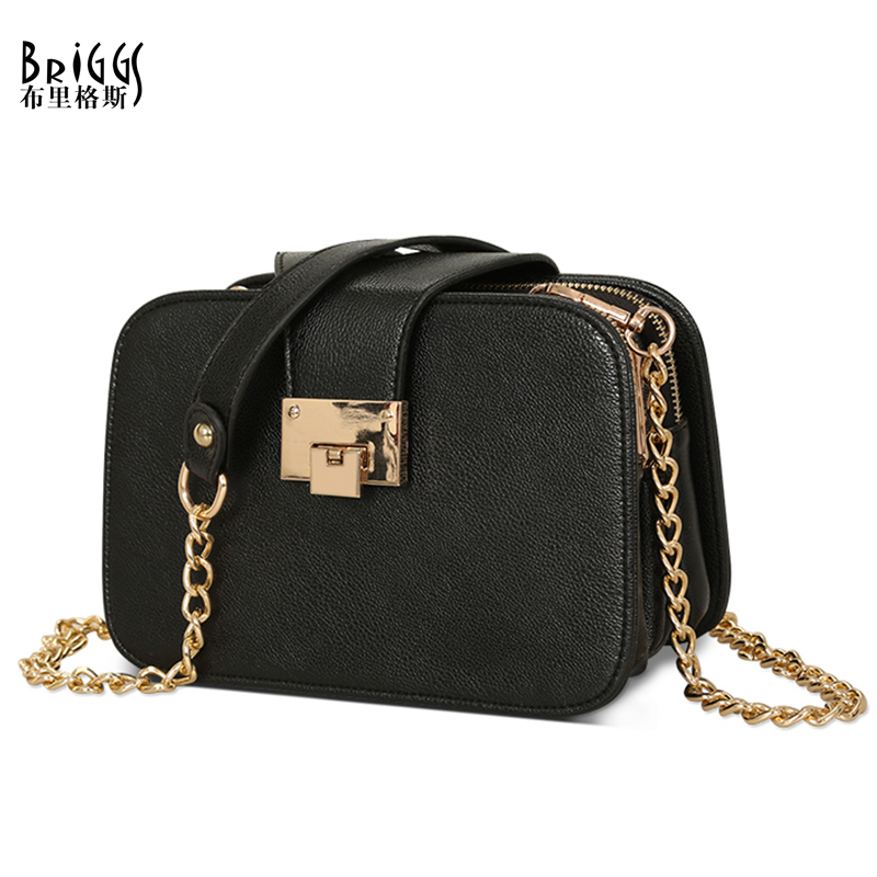 BRIGGS Chains Flap Women Crossbody Bag Zipper&Hasp Shoulder Bag PU Leather Messenger Bag Small Ladies High Quality Female Bags vintage canvas messenger bag high quality womens crossbody bags bend zipper design casual small flap tote bag