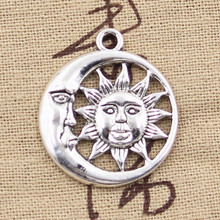 15pcs Charms Sun Moon 28x24mm Antique Bronze Silver Color Plated Pendants Making DIY Handmade Tibetan Silver Color Jewelry