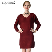 Rqueena Womens Dresses New Arrival Fall 2017 Fashion Autumn Winter Women Casual Long Knitted Wine Red