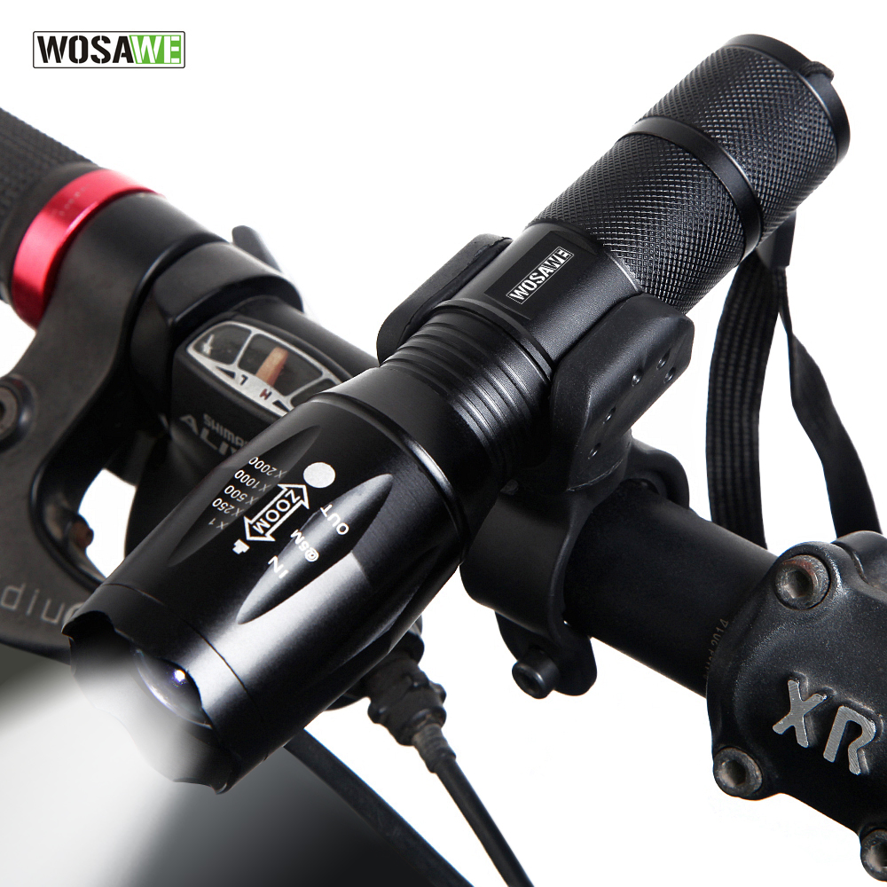 WOSAWE New Bicycle Light 1000 Lumens 5 Mode T6 LED Bike Light Front Torch Waterproof + Torch Holder Support 18650 Battery