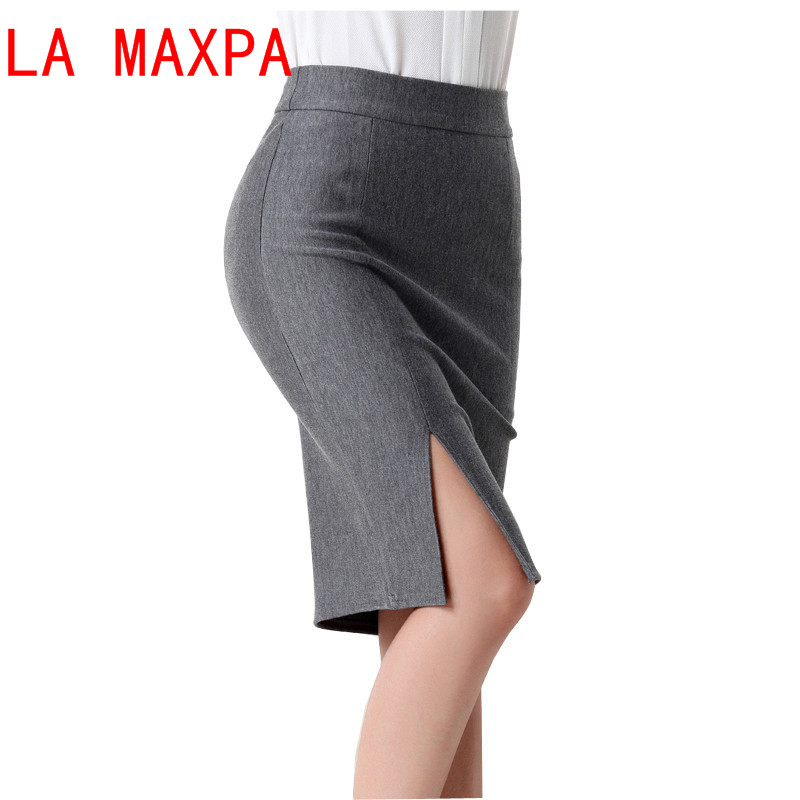 Fashion spring autumn new women skirt XL size high waist work slim pencil skirt open fork sexy office lady skirts female