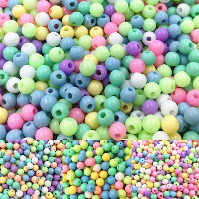 Fashion 30/50/100/300pcs Hot Round Children Kids DIY Jewery Beads Acrylic Loose