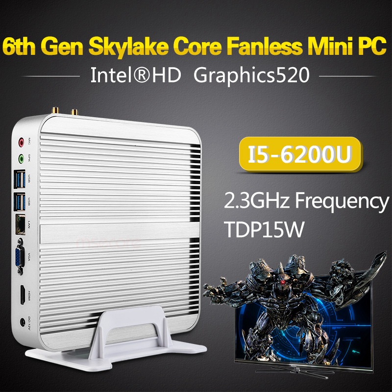 Intel 6200u fanless i5 mini pc de la computadora de escritorio de windows 10 sis