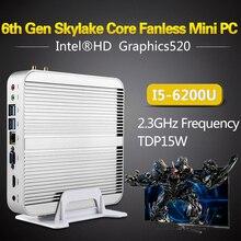 Intel безвентиляторный i5 6200U Mini PC Настольный компьютер Windows 10 неттоп barebone системы NUC Skylake HTPC HD520 графика 4 К 300 м Wi-Fi
