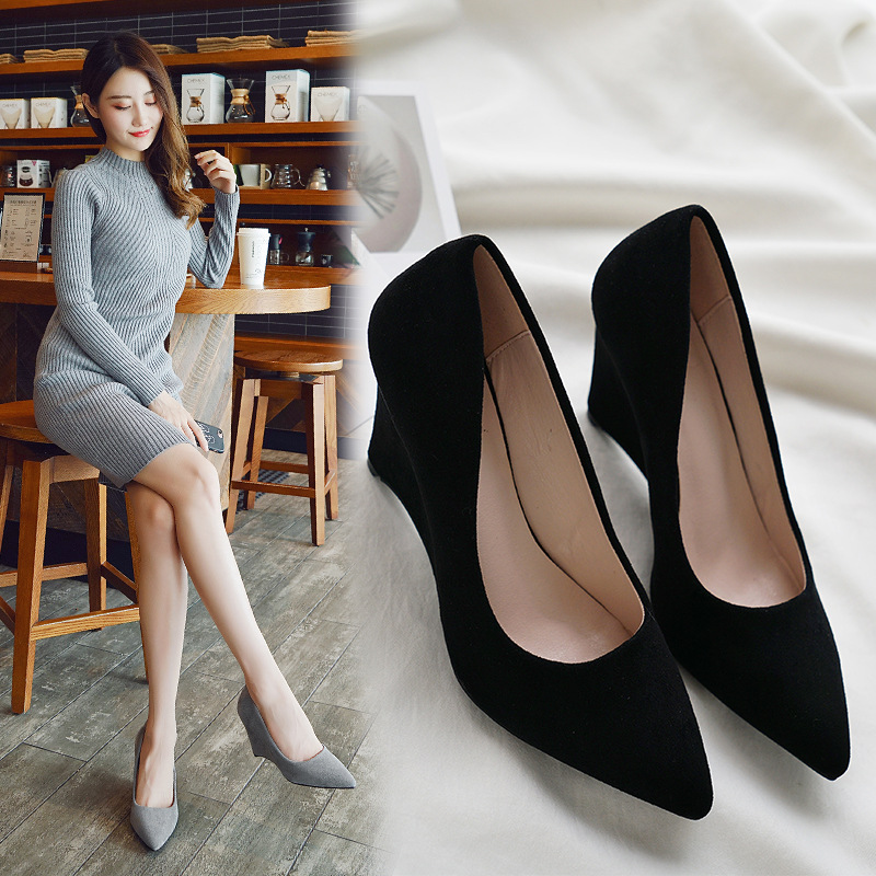 SAILING LU Women Shoes Flock Solid High-Heeled Pumps Summer 2019 Fashion Pointed Toe Female Leisure Slip On Size 35-40 XWD7215 6