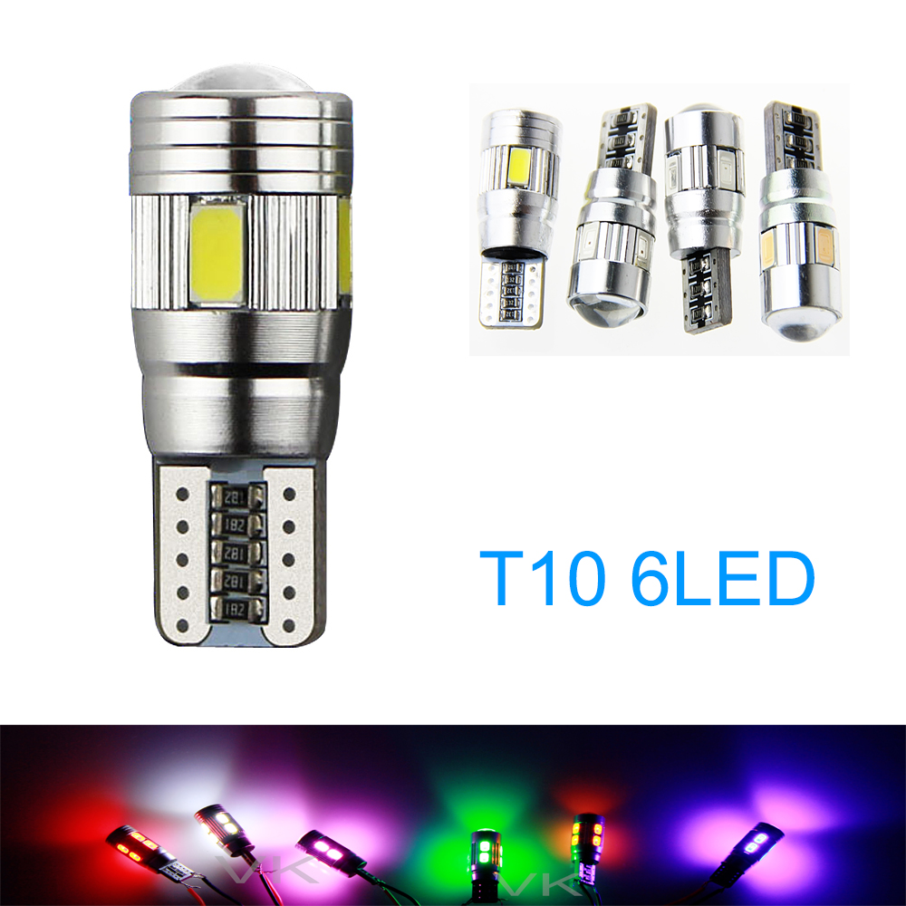 6PCS T10 W5W LED car interior light cob marker lamp 501 194 168 6leds 5630 5730 SMD Canb ...